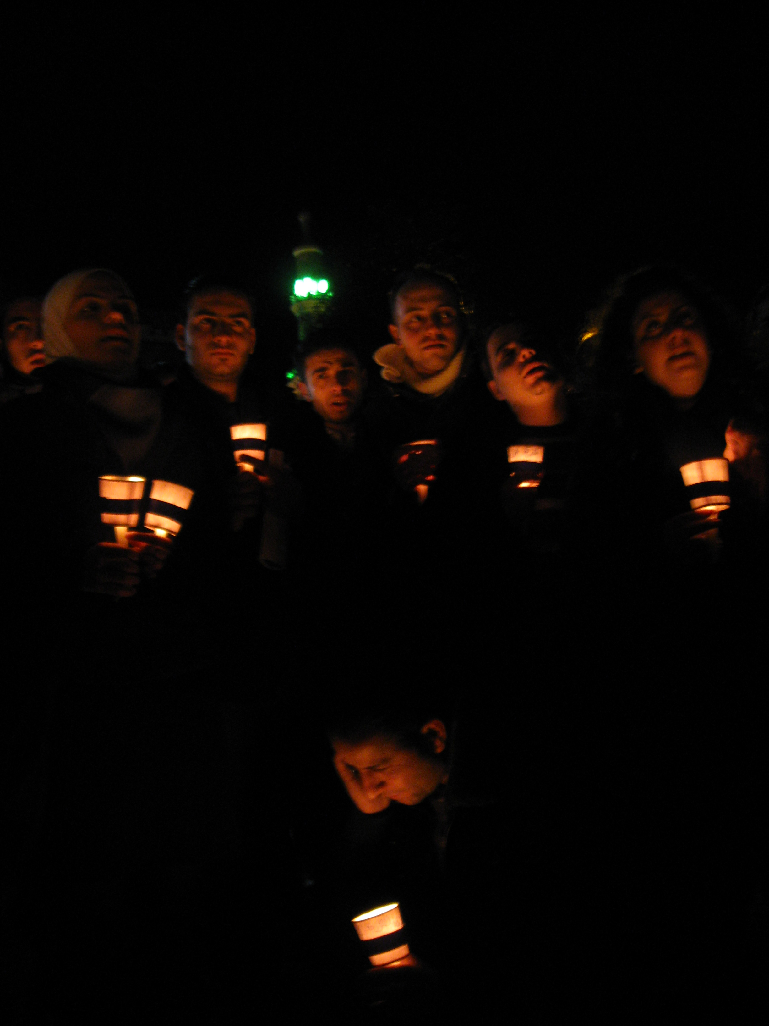 At a New Year's Eve vigil in solidarity with Gaza, patriotic songs